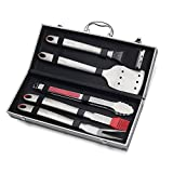 Sunnecko Barbecue Accessories-Barbecue Tools Set Have Duty with 5pcs-Stainless Steel Utensils with Aluminium Case For Man