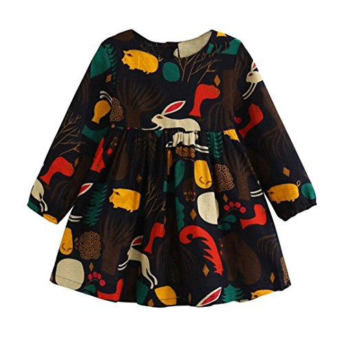 Vovotrade Girls Autumn Forest Animals Graffiti Cartoon Children Long Sleeve Dresses (2T, Navy)