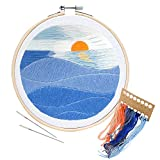 Unime Embroidery Starter Kit with Pattern Full Range Embroidery Kit with Embroidery Cloth, Embroidery Hoop, Color Threads, Needles (Sunset)