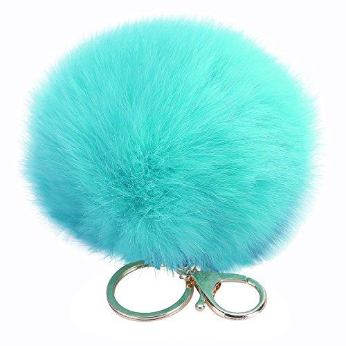 Miraclekoo Rabbit Fur Ball Pom Pom Key Chain Gold Plated Keychain with Plush for Car Key Ring or Handbag Bag Decoration (Light Blue)