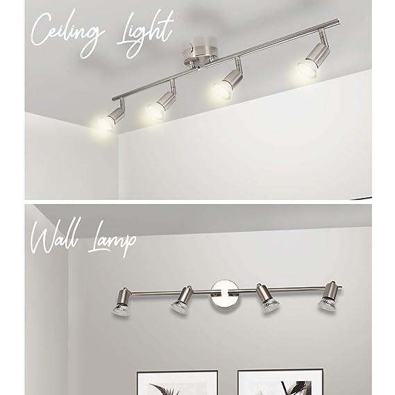 Wowatt Lámpara de techo LED Plafón con Focos Giratorios 4X Bombillas GU10 Bajo consumo 6W 230V 2800K Blanco cálido 600lm 83Ra IP20 Níquel Mate ...