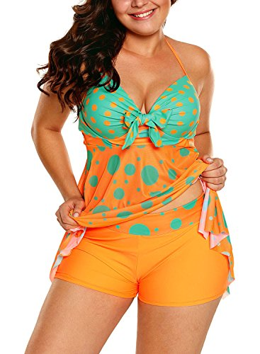 Sidefeel Women Cute Polka Dot Print 2pcs Tankini Swimsuit XX-Large Orange - Orange Polka Dot
