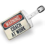 Luggage Tag Warning Coach At Work Vintage Fun Job Sign - NEONBLOND