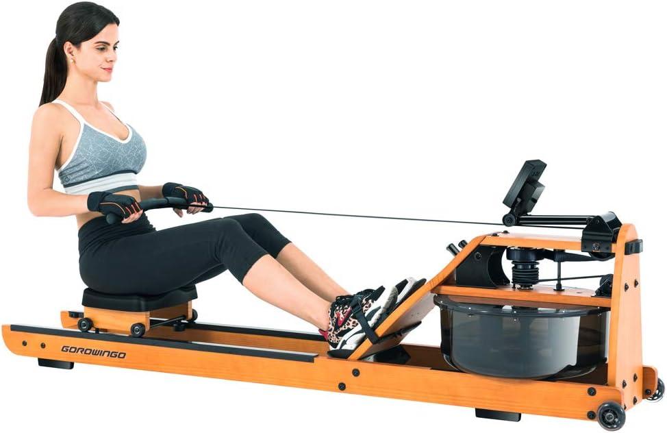 gorowingo Water Rower Rowing Machine,Wooden Indoor Row Machine