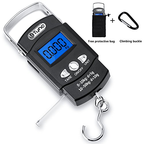 TyhoTech Fishing Scale 110lb/50kg Backlit LCD Screen Portable Electronic Balance Digital Fish Hook Hanging Scale with Measuring Tape Ruler, D Shape Buckle and Carry Bag Included