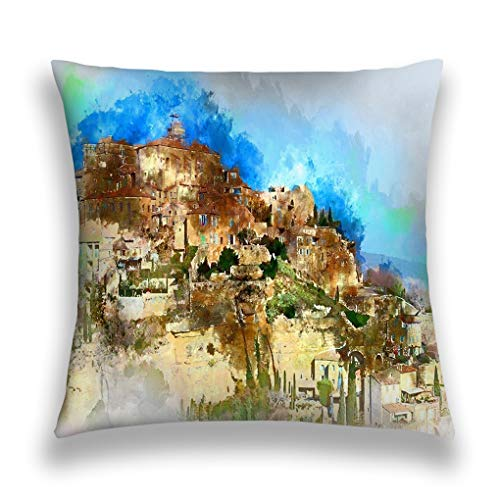 zexuandiy Throw Pillow Cushion Cover, Colorful Modern Design Digital Modern Art Print, Decorative Square Accent Pillow Case, 18 X 18 inches, gordes Village Digital Watercolor Painting Very be