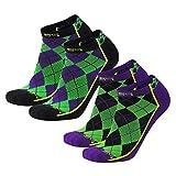Brand 59 Diamond 2.0 Low Cut Golf Socks (Black/Purple/Lime (2 Pairs), Medium)