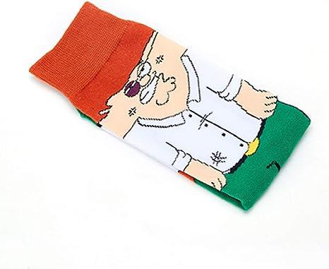 WZQQ 1 par de Calcetines de algodón para Hombre Personaje de Dibujos Animados patrón Fiesta Novedad Calcetines Divertidos Calcetines Transpirables de Confort para Hombre, D: Amazon.es: Deportes y aire libre