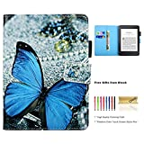 Dteck Kindle Paperwhite Case, [Stylus Pen] Slim Light PU Leather Smart Case Cover with [Auto Sleep Wake] Pretty Design Wallet Flip Folio Cover for Amazon Kindle Paperwhite E-Reader-Blue Butterfly