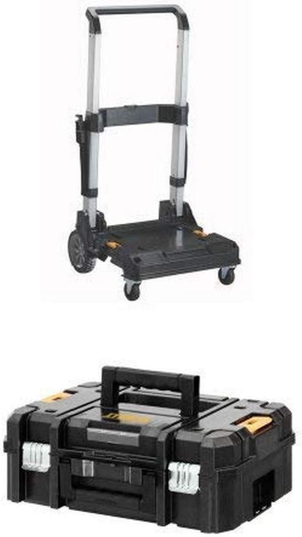 DEWALT DWST17888 TSTAK Trolley with Handle andDWST17807 TSTAK II Flat Top Toolbox Organizer