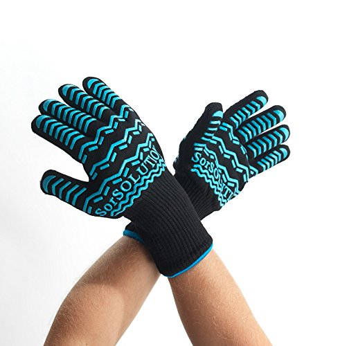 Best BBQ Grill Gloves Heat Resistant by SorSOLUTION - Barbecue and Cooking with Safety and Comfort - for Grilling and Kitchen - Non-Slip Silicone Strips - EN407 Certified - 1 Pair by SorSOLUTION