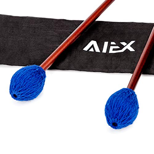 AIEX 1 Pair Marimba Percussion Mallets Yarn Head Mallets Medium Hard KeyboardMallets Percussion with Maple Handles Waterproof Bag