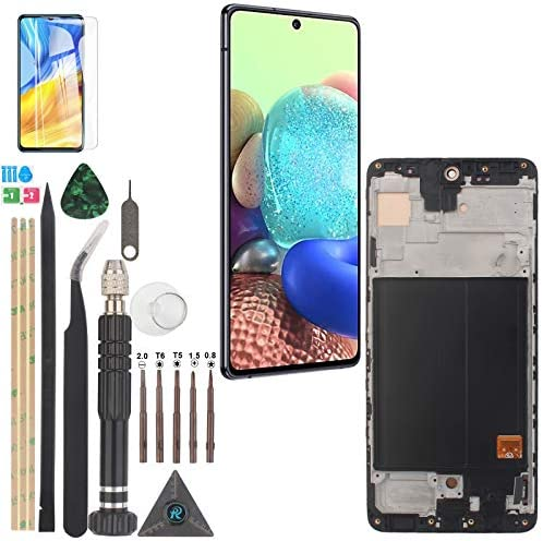 Replacement for AMOLED Samsung Galaxy A51 2019 LCD Display Digitizer Assembly Screen Touch Panel A515U1 A515U A515A SM-A515F/DS SM-A515U with Fingerprint Sensor (Black with Frame)
