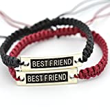 Wintefei2 Pcs Fashion Men Women Craft Best Friend Print Bracelet DIY Wristband Gift - Black + Wine Red