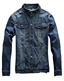 Idopy Men`s Motorcycle Slim Fit Distressed Biker Jean Denim Jacket (US M, Blue 854#)