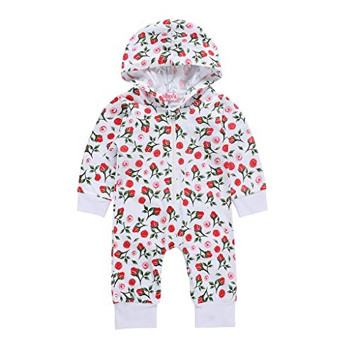 - RoDeke Baby Girl Romper Flower Rose Print Long Sleeve Hooded One Piece Jumpsuit Outfit