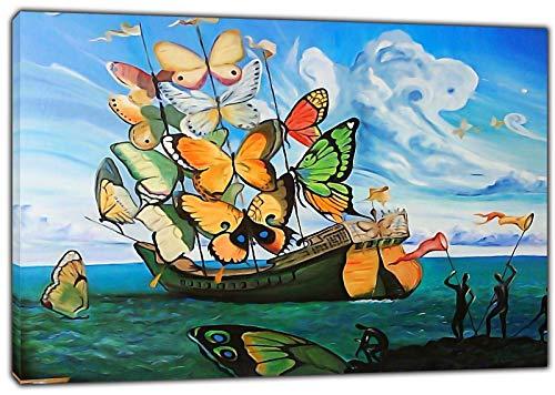 HYFBH Arte de la Lona Impresion Barco Mariposa Pintura al oleo Salvador Dali Lienzo Arte de la Pared Imagen Decoracion del hogar Lienzo Pintura 60x80cm (23 6x31 5 Pulgadas) con Marco
