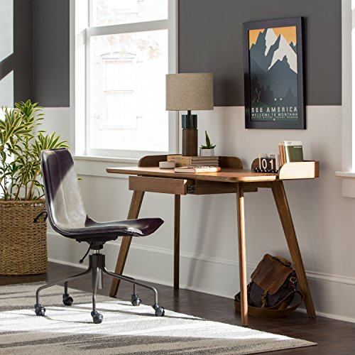 Rivet Mid Century Curved Wood Home Office Computer Desk