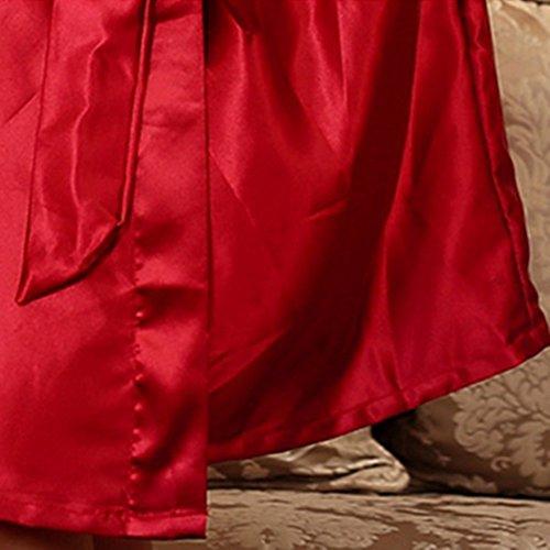 SUNBABY Women Silk Satin Nightgown Short Kimono Robe Sexy Sleepwear Fashion Dressing Gown Big Size (Red) by SUNBABY (Image #7)