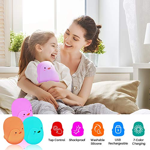 TekHome 2019 Penguin Night Lights for Kids, 7-Color LED Baby Night Light, Mini Toddler Bedside Touch Lamp, Children Nursery Decor, Nurse Baby Shower Gifts for Women, Toys for 3-12 Year Old Girls Boys.
