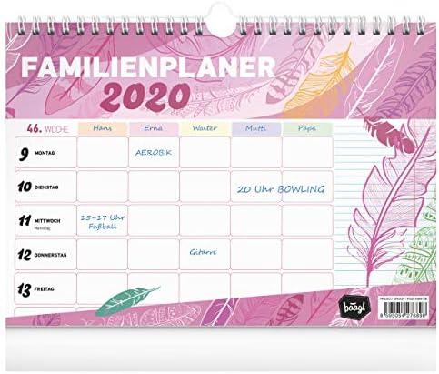 Familienplaner 2020 - Familienkalender 2020 Planer für bis zu 5 Personen - Wochenplaner Wandkalender und Stehkalender für Familie (Violett)