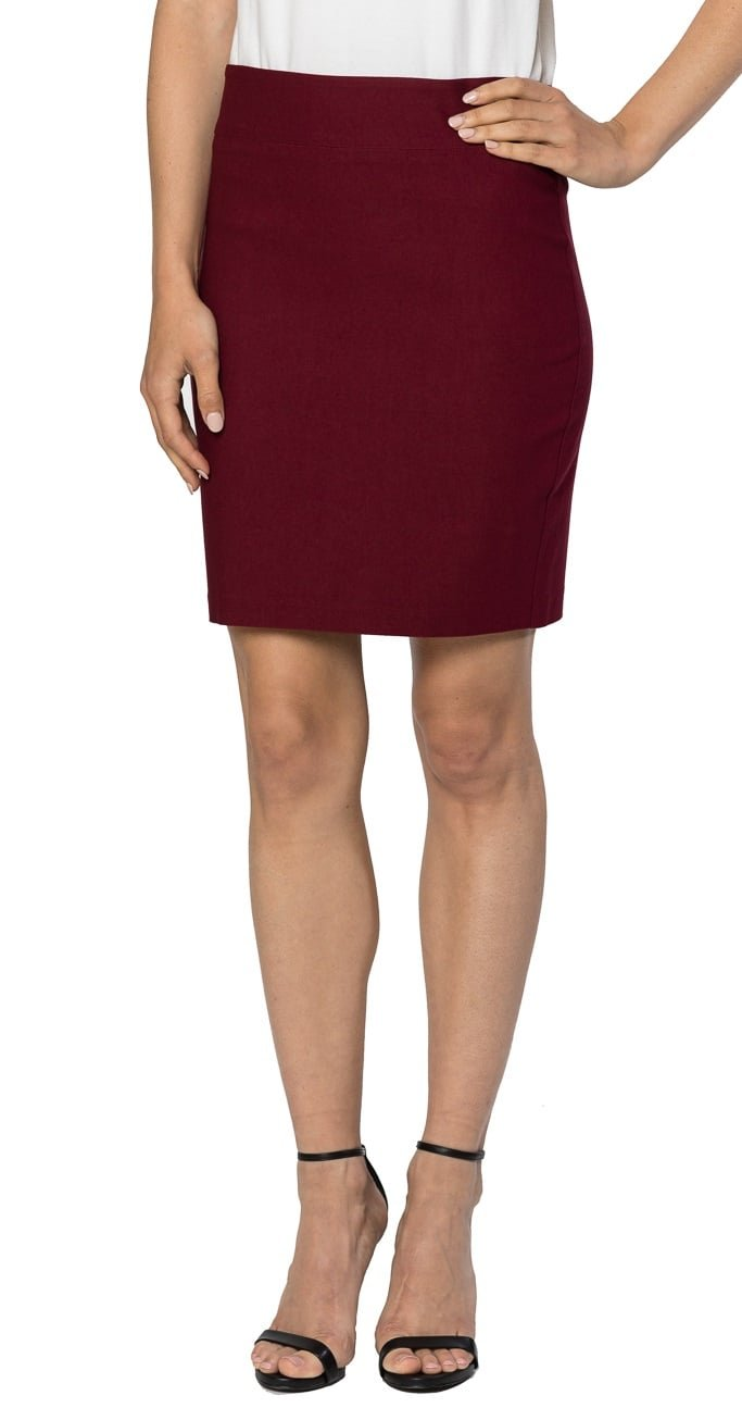 Velucci Womens Stretchable Mini Pencil Skirt - Above The Knee 19'' Length Classic Skirt, Burgundy-XL