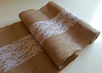 Amazon.com: Burlap & Lace Wedding Table Runner by Wedding Burlap ...