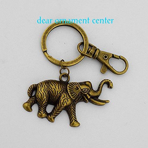 Elephant Keychain Personalized Indian Elephant Keychain Customized Keychain Brass Elephant Jewelry Animal Charm (Brass Elephant Charm)