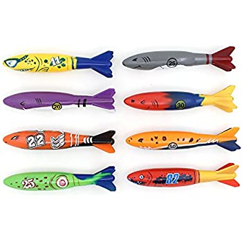 Diving Toy for Pool Use Gliding Shark Throwing Torpedo Underwater 8PCS/Set