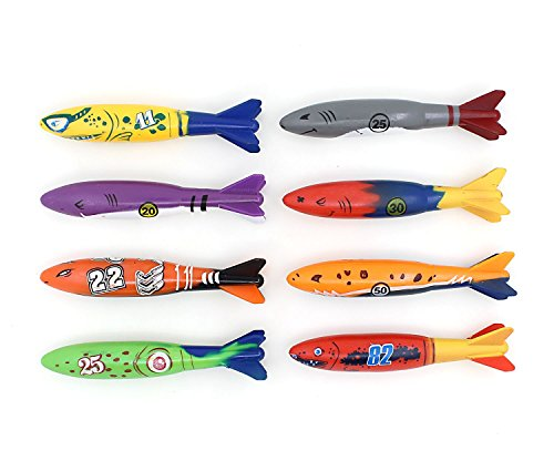 Diving Toy for Pool Use Gliding Shark Throwing Torpedo Underwater 8PCS/Set (Diving Rockets)