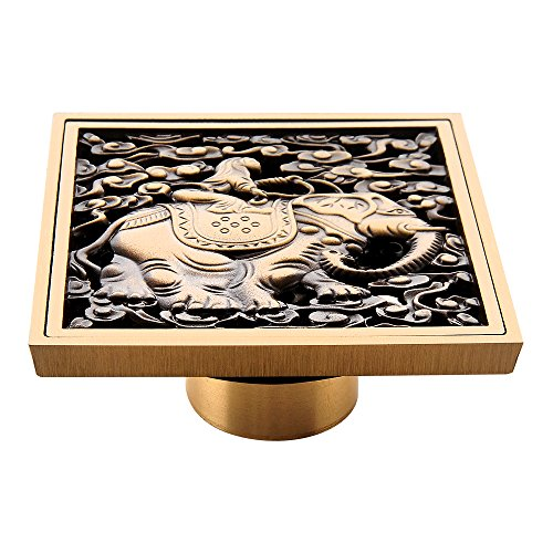 HARPOON Copper/Brass Bathroom Floor Drain Square Shower Sink Drain Strainer with Removable Cover, Carved, Antique (Elephant) ()