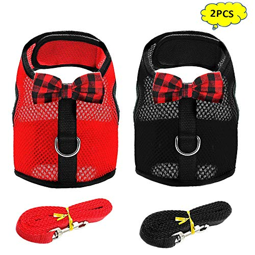 eash, 2 Set No Pull Cat Leash Stylish Vest Harness,Adjustable Soft Breathable Mesh Small Pet Harness for Cats,Hamster, Rats and Similar Small Animals(Red,Black, S) ()