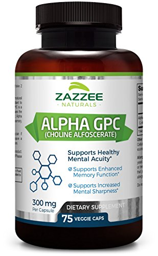 Alpha GPC Choline | 75 Veggie Capsules | 600 mg per Serving | Pharmaceutical Grade | Vegetarian/Vegan | Non-GMO, Soy-Free, Gluten-Free | Supports Healthy Brain Function | Made in USA by Zazzee Naturals