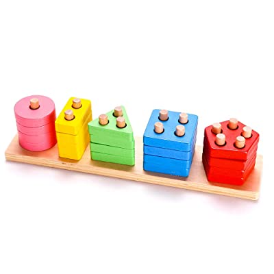 RUIDELI Wooden Educational Geometric Toys, Preschool Learning Shape Color Recognition Geometric Stacking Blocks, Toddler Geometric Sorting Board Blocks: Toys & Games