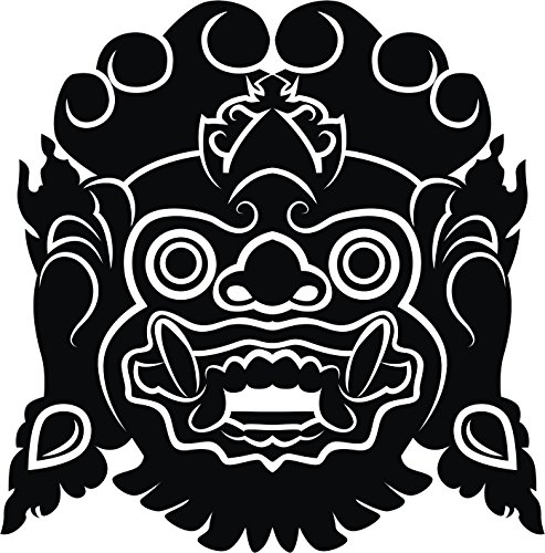 - Cool Ancient Indonesian Mask Silhouette Vinyl Decal Sticker (12
