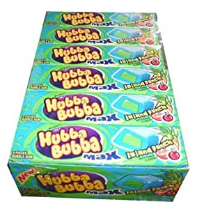 Wrigleys Hubba Bubba Max Bubble Gum, Island Punch, 5 Piece Packs, (Pack of 18)
