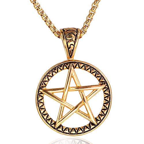 WANZIJING Pentacle Necklace Vintage Pentagram Stainless Steel Pendant Necklace Jewelry with Chain 23.6'' for Men Women,Gold