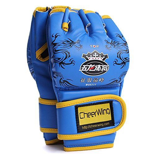 Cheerwing Half Finger Boxing Gloves MMA UFC Sparring Grappling Fight Punch Ultimate Mitts Leather Gloves (Dragon-Blue)
