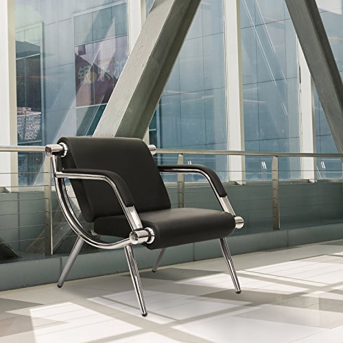 Kinbor Furniture Black Leather Executive Side Reception Chair Office Waiting Room Guest Reception (One Seat)