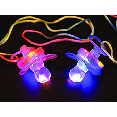 Flashing Panda Set of 4 LED Flashing Pacifier Binkie Raver Pendant Necklace: Toys & Games