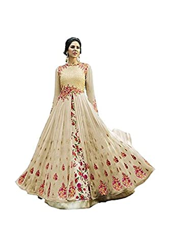 1c7ccbf2f5 Amazon.com: Women's Designer Indian Dress Ethnic Party Beige Floral  Embroidered Gown Salwar Suit: Clothing