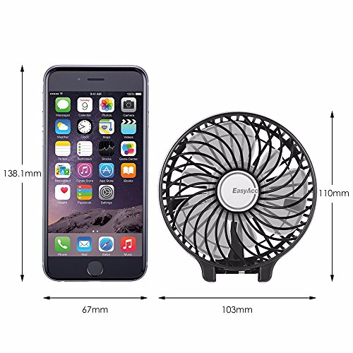 EasyAcc 2600mah Battery Handheld Fan Portable Battery Operated USB Fan Mini Personal Fan Outdoor Electric Fan with Rechargeable LG 2600mAh Battery Adjustable 3 Speeds Foldable Home and Travel -Black by EasyAcc (Image #7)