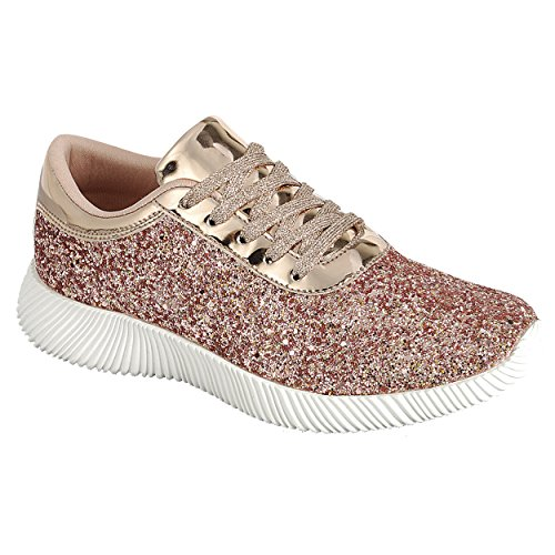 SNJ Womens Flat Lace Up Glitter Fashion Sparkly Sneaker New Rose Gold O7CuNvP