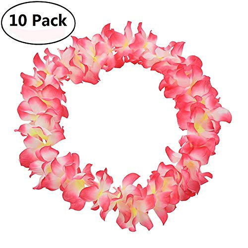 Genenic 10 Pack Hawaiian Artificial Flowers Leis Garland Necklace Fancy Dress Party Hawaii Beach Fun Flowers DIY Party Beach Decoration (Pink) by Genenic
