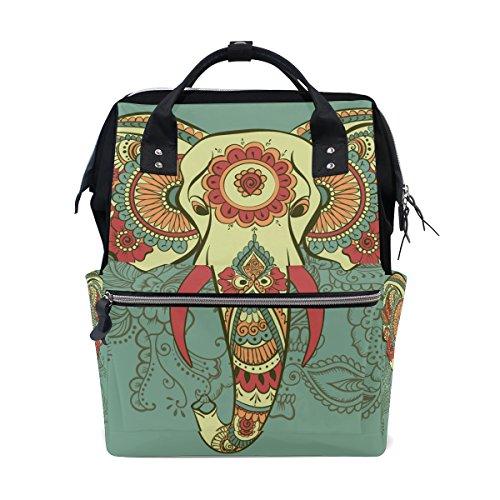 - Retropaisley Elephant School Backpack Bookbag Travel Shoulder Stylish Large Capacity Diaper Bags