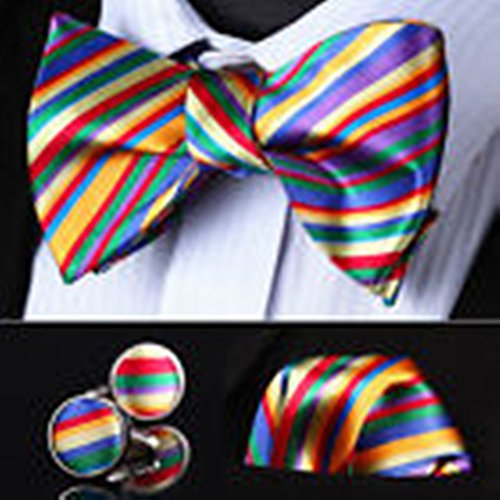 [Mondaily DL02G Green Red Blue Striped Men Silk Self Bow Tie handkerchief Cufflinks set #PPTE4399] (Cats Musical Halloween Costumes)