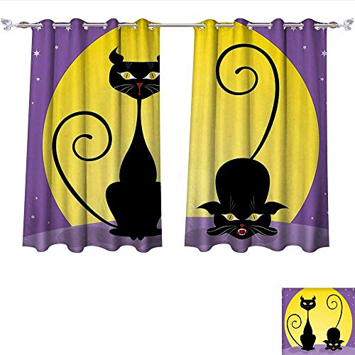 Qinqin-Home Room Darkening Thermal Insulated Cat Two Black Kitties in Front of Full Moon Starry Night Halloween Image Violet Yellow Black Blackout Curtain for Living Room (W55 x L45 -Inch -