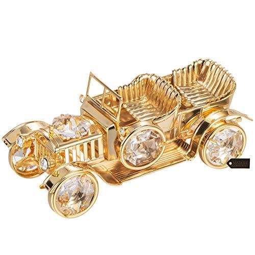 Matashi 24K Gold Plated Crystal Studded Vintage Car Ornament ()