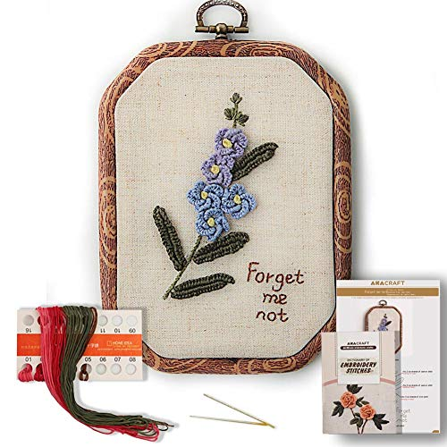 Akacraft Chinese FlowersPick Series Embroidery Starter Kit, Canvas Cloth with Color Pattern, Imitated Wood Rubber Embroidery Hoop, Color Threads, and Needles (Forget-me-not)