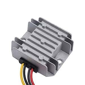 DROK® DC-DC Waterproof Buck Converter 10A/50W Power Supply Voltage Regulator 24V 12V to 5V Step Down Car LED Display Voltage Adjuster Input 9-30V for Bus LCD TV Surveillance System